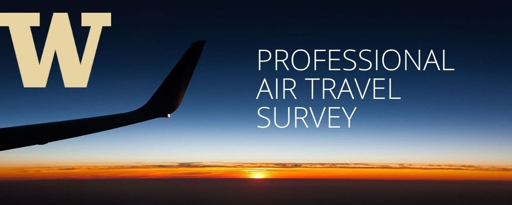 """image of plane wing with sunset in background, with text """"Professional Air Travel Survey"""""""