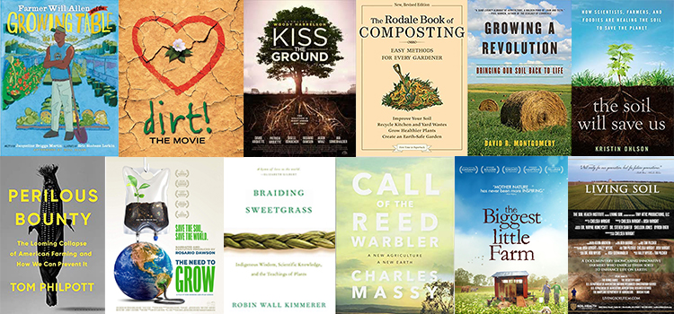 collage of compost related movies and book posters
