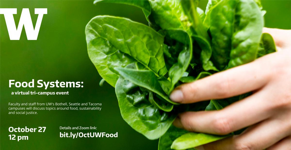 Food systems: a tri-campus event (text with photo of hand holding leafy greens)