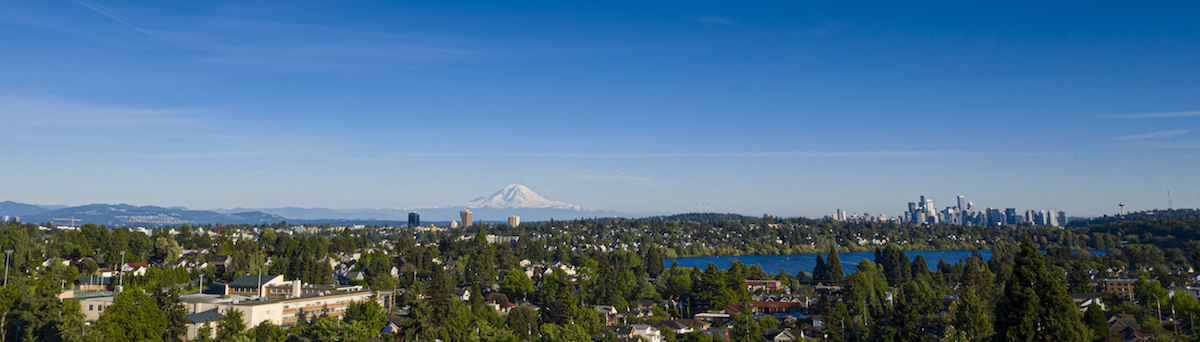 Aerial view of Seattle and Mt. Rainier from the UW campus