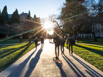students walking in Quad