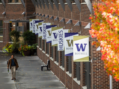 UW banners on Bothell campus