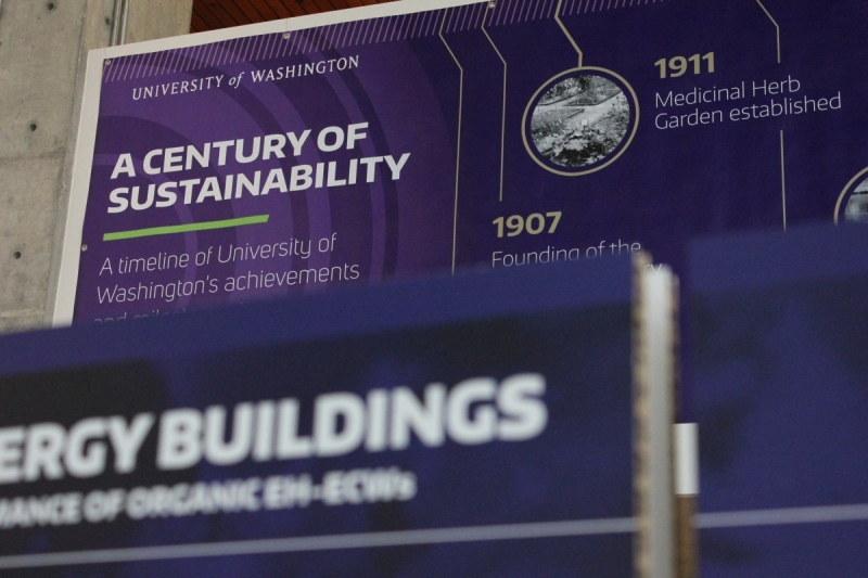 A timeline of UW's sustainability efforts is included in the exhibit