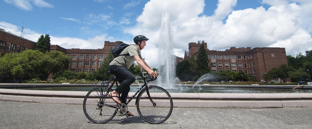 student biking at UW